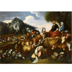 Oil Painting Departure of Abraham for Canaan School of Giovanni Castiglione