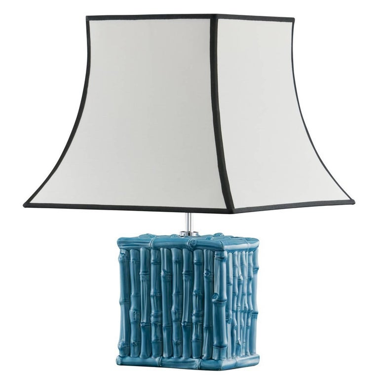 Bamboo Turquoise Desk Lamp For Sale