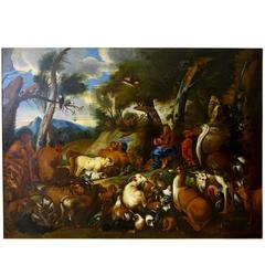 Oil Painting Orpheus Charming the Animals School of Giovanni Castiglione