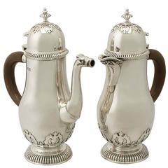 Antique George vi Sterling Silver Café Au Lait Set of George II Style