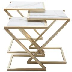 Zumm Zum Zu Set of Three White Marble Nesting Tables