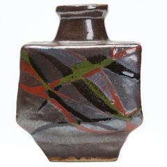 Shoji Hamada Brushwork Slab Studio Pottery Vase, 20th Century