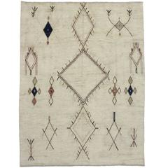 Contemporary Moroccan Style Area Rug with Tribal Design
