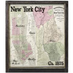 New York City Map with Surrounding Burroughs in Antique Windowpane, circa 1875