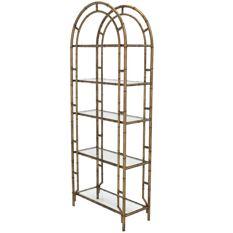 Faux Bamboo Arch Shape Glass Shelves Etagere