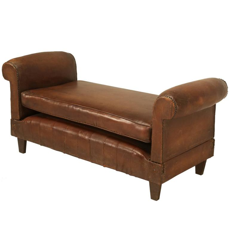 Antique French Leather Day Bed Circa 1930s For
