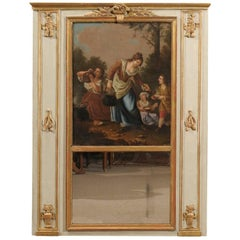 Louis XVI Period Trumeau Mirror with Pastoral Oil on Canvas, France, circa 1780