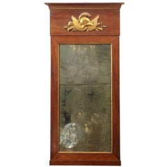 Tall Empire Period Mahogany and Giltwood Mirror with Helmut Motif, circa 1810