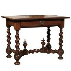 18th Century French Walnut Table with Drawer and Barley Twist Legs