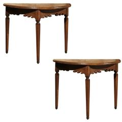 Pair of 19th Century Italian Oak Demilunes with Carved Apron & Tapered Legs