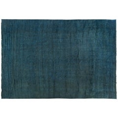 Silky Wool Overdyed Rug in Turquoise