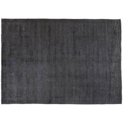 Silky Wool Overdyed Rug in Grey
