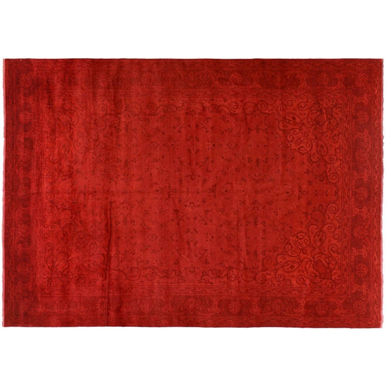 Silky Wool Overdyed Rug in Red