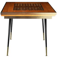 1950-1960 Game Table with 40 Pieces, French Checkers Board