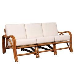 Fantastic Restored Vintage Modern Rattan Three-Seat Sofa