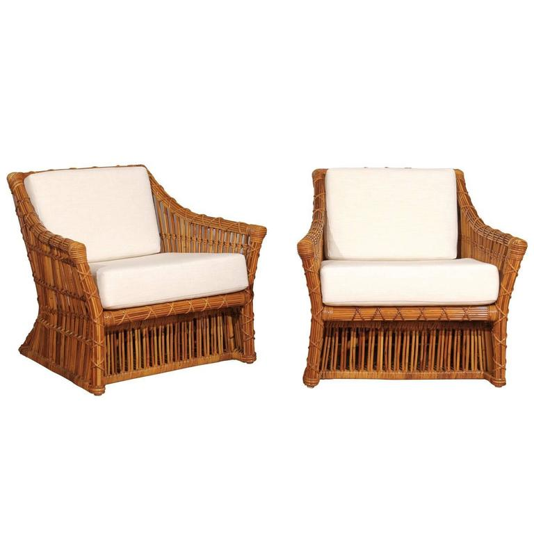 Magnificent Pair Of Red Vintage Rattan Club Chairs By Mcguire For