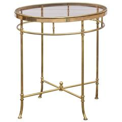 Italian Mid Century Oval Brass and Glass Top Side Table with Splayed Feet