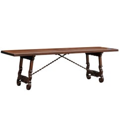 19th Century Italian Baroque Style Long Wooden Trestle Table with Iron Stretcher