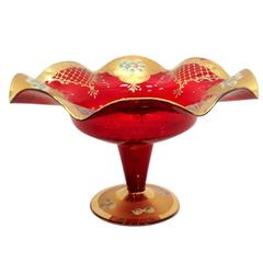 Gorgeous Large Cranberry Red Bowl with 24-Karat and Hand-Painted