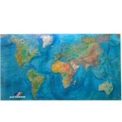 Large Air France Map on Acrylic by M. Morel, 1980