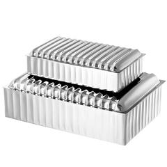 Lines Jewelry Box Set of Two in Nickel Finish