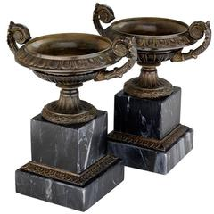 Baron Set of Two Vase in Bronze on Marble Base