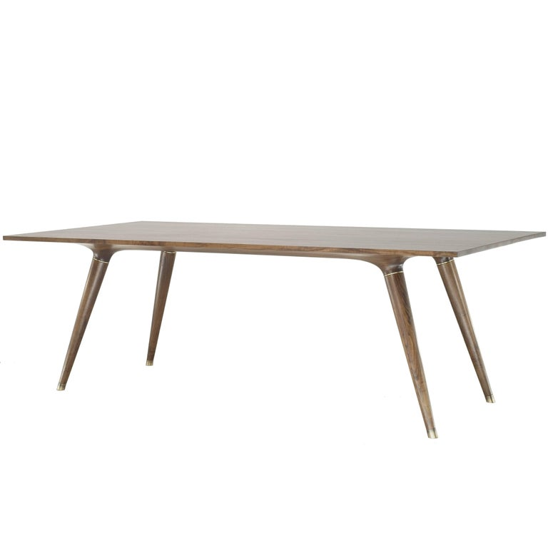 Contemporary Dining Table in Carved Walnut with Brass Accents For Sale