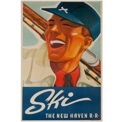 SKI the New Haven Railroad Original Travel Poster