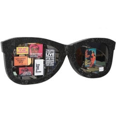 Andy Warhol Tribute Pop Art Wall Sculpture of Giant Black Crystal Sunglasses