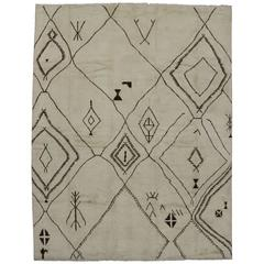 Mid-Century Modern Style Moroccan Rug with Tribal Design