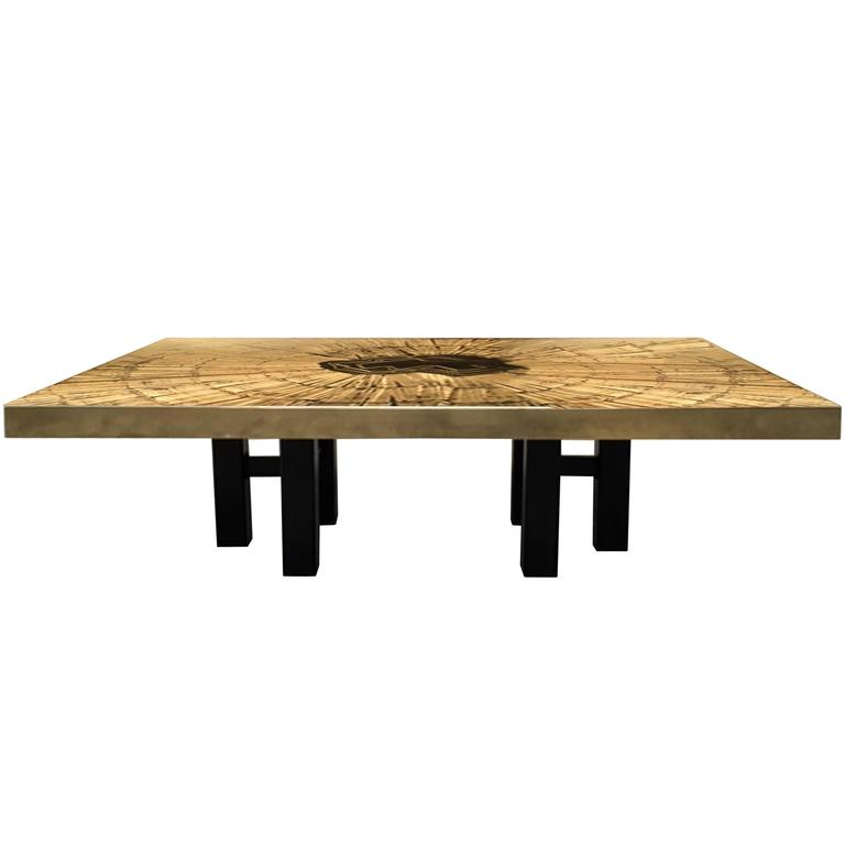 Etched Bronze Starburst Coffee Table by Lova Creations