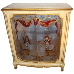 Maison Jansen Verrne Eglomise and Painted Cabinet Commode