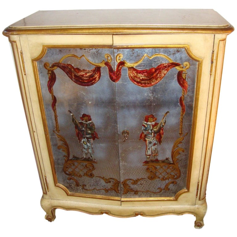 Maison Jansen Verrne Eglomise and Painted Cabinet Commode For Sale
