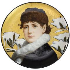 Fine Hand-Painted Portrait Charger by Herbert Wilson Foster for Minton, 1879