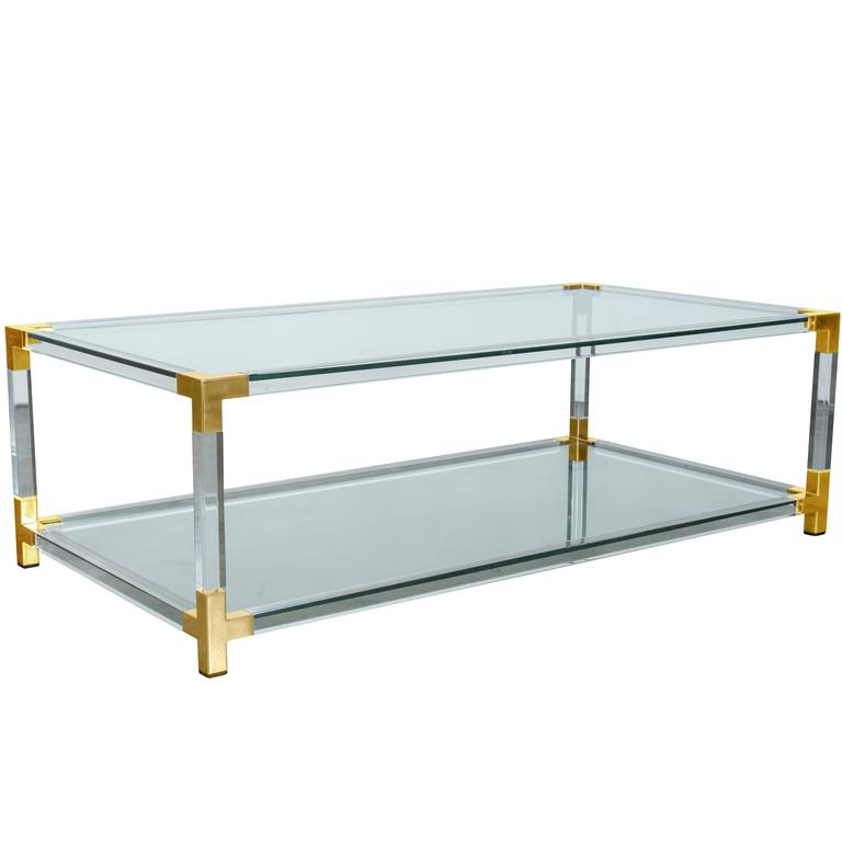 French Modernist Two Tier Maison Jansen Lucite And Brass Cocktail Table At 1stdibs