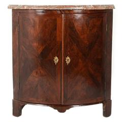 Late 18th Century French Rosewood Marble-Top Corner Cabinet