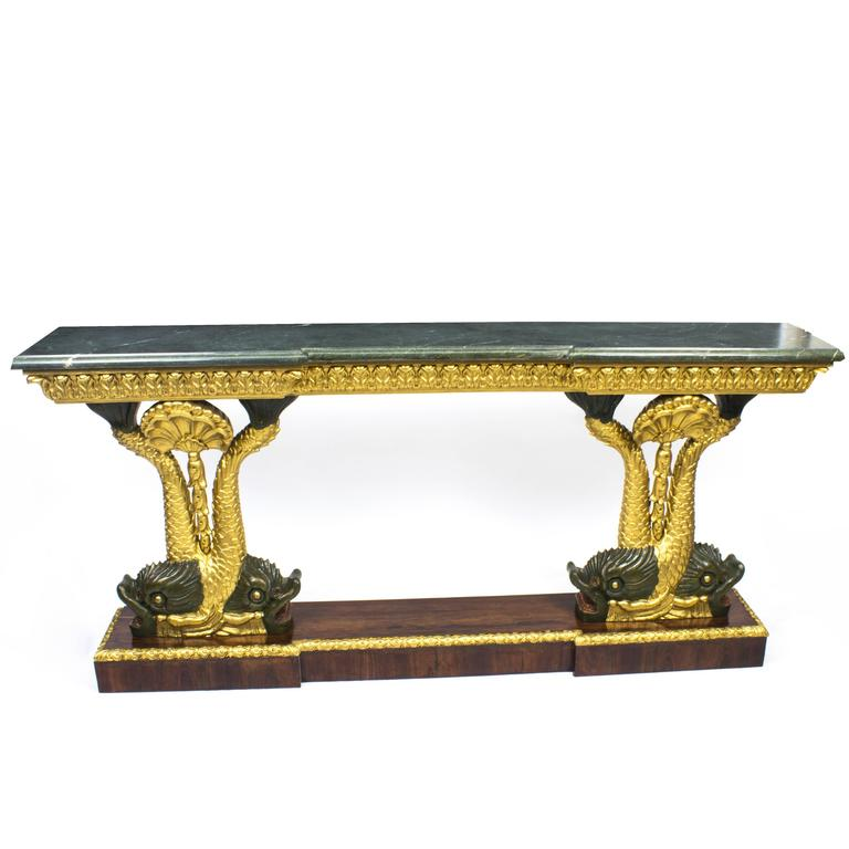Early 20th Century Entwined Gilded Dolphins Console Pier Table
