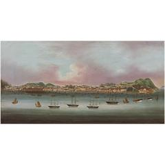 Very Interesting Topographical Painting of Macao