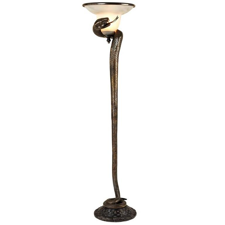 Snake Floor Lamp in Bronze with Frosted Glass Lamp at 1stdibs