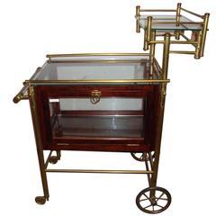 Mid-Century Modern Bass and Mahogany Bar Serving Cart on Wheels