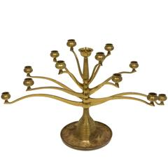 Six-Arm Brass Candelabra After Bruno Paul