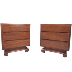 Pair of Mid-Century Three-Drawer Nightstands by American of Martinsville