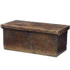 Early 18th Century Continental Fruitwood Marriage Chest Coffer