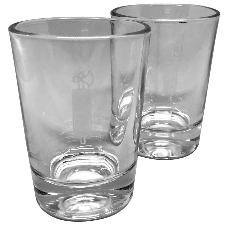 """Pair of Italian Republic military glasses with etched emblem of the Fascist period.  Small cordial or wine glasses in original perfect condition, Italy, circa 1922-1928. Dimensions: 2.5"""" diameter top x 3.5"""" H; 2"""" diameter base."""