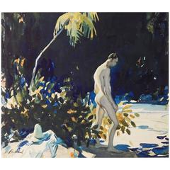"""Nude Bather, Dominican Republic,"" 1930s Tropical Scene Watercolor"