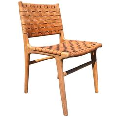 """Flora"" Dining Chair with Natural Leather and Natural Finish Haskell Design"