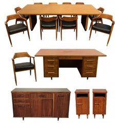 Dunbar Quality Mid-Century Walnut Office Suite, Indiana
