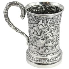 19th Century Chinese Export Cup by Luen Wo of Shanghai