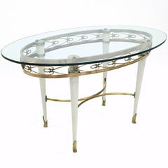 Oval Glass Coffee Table with a Brass Motif, Italy, 1950s