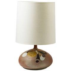 Ceramic Lamp with Glaze Decoration, France, 1970